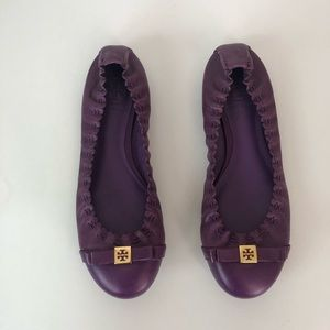 Tory Burch  bow logo purple flats 6
